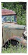 Abandoned Truck In Field Beach Towel