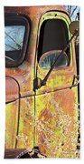 Old Green Truck Door Beach Towel