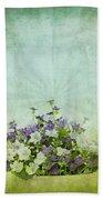 Old Grunge Paper Flowers Pattern Beach Towel