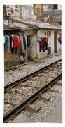 Old Hanoi By The Tracks Beach Towel