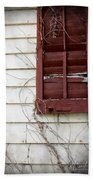 Old House Red Shutter 3 Beach Towel