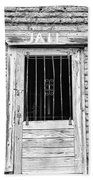 Old Jailhouse Door In Black And White Beach Towel