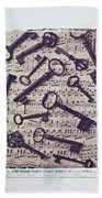 Old Keys On Sheet Music Beach Towel