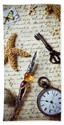 Old Letter With Pen And Starfish Beach Towel