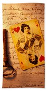 Old Playing Card And Key Beach Towel
