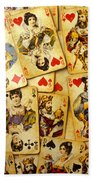 Old Playing Cards Beach Sheet