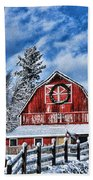 Old Red Barn Hdr Beach Towel