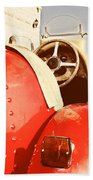 old Red Race Car Beach Towel