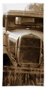 Old Rustic Ford-sepia Beach Towel