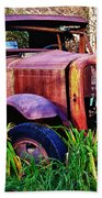Old Rusting Truck Beach Towel