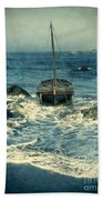 Old Sailing Vessel Near The Rocky Shore Beach Towel