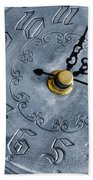 Old Silver Clock Beach Towel