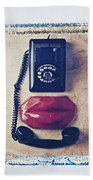 Old Telephone And Red Lips Beach Towel