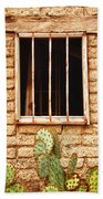 Old Western Jailhouse Window Beach Towel