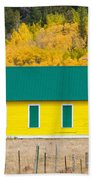 Old Yellow School House With Autumn Colors Beach Towel