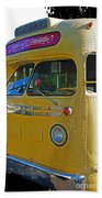 Old Yellow Transit Bus Abstract Beach Towel