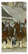 Olde Tyme Travel Clydesdales Beach Towel