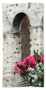 Oleander And Colosseum Beach Towel