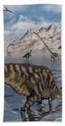 Omeisaurus And Parasaurolphus Dinosaurs Beach Towel