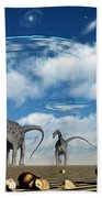 Omeisaurus Dinosaurs Are Startled Beach Towel