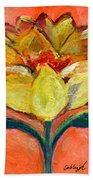 One Yellow Flower And Pinky Peach Behind Beach Towel