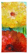 One Yellow One Red And Orange Flower Shines Beach Towel
