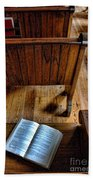 Open Book On Church Pew Beach Towel