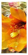 Orange And Yellow Cactus Flower Beach Towel