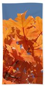 Orange Autumn Leaves Art Prints Blue Sky Beach Towel