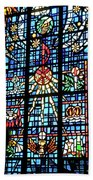 Orange Blue Stained Glass Window Beach Towel by Thomas Woolworth