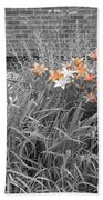 Orange Day Lilies. Beach Towel by Ausra Huntington nee Paulauskaite