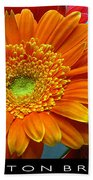 Orange Floral Beach Towel