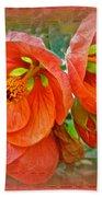 Orange Hibiscus Flowers Beach Towel