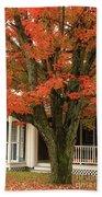 Orange Leaves And Pumpkins Beach Towel