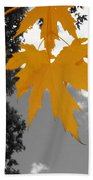 Orange Maple Leaves Beach Towel