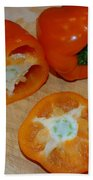 Orange Peppers Beach Towel