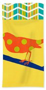 Orange Polka Dot Bird Beach Towel