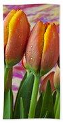 Orange Yellow Tulips Beach Towel