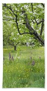 Orchard With Flowering Orchids Beach Towel