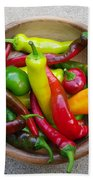 Organic Colorful Peppers Beach Towel