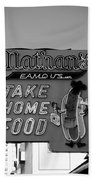 Original Nathan's In Black And White  Beach Towel