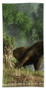 Otter By A Stump Beach Towel
