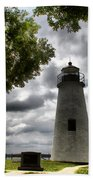 Overcast Clouds At Turkey Point Lighthouse Beach Towel