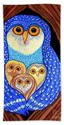 Owl And Owlettes Beach Towel