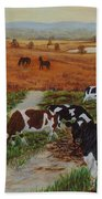 Painting Cows On Cors Caron Tregaron Beach Towel