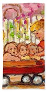 Paintings For Children - Boy - Girl - Red Wagon And Puppies Beach Towel