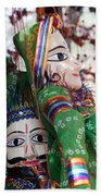 Pair Of Large Puppets At The Surajkund Mela Beach Towel
