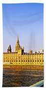 Palace Of Westminster From Bridge Beach Towel