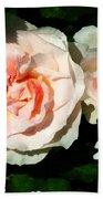 Pale Pink Roses In Garden Beach Towel