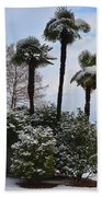 Palm Trees With Snow Beach Towel